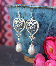 Long Pearl Earrings Teardrops Silver Heart Sterling