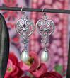 Long Pearl Earrings Teardrops Silver Heart Sterling