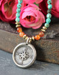 True North Compass Turquoise Beaded Necklace