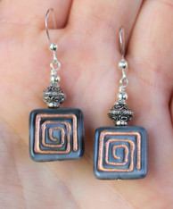 Square Spiral Czech Glass Earrings