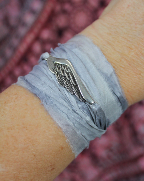 Angel Wing Ribbon Wrap Bracelet