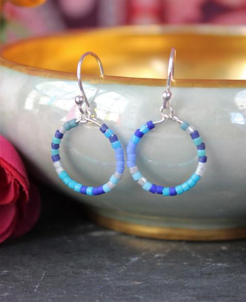 Colorful Beaded Hoop Earrings - Moody Blues