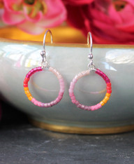 Colorful Beaded Hoop Earrings - Rio