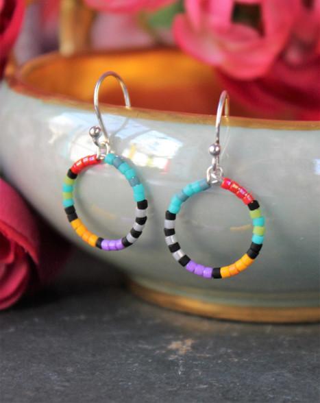 Colorful Beaded Hoop Earrings - Artemis