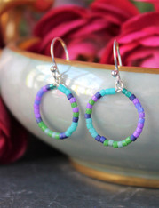Colorful Beaded Hoop Earrings - Cancun