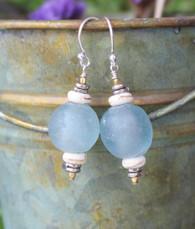 Ice Blue Glass Earrings