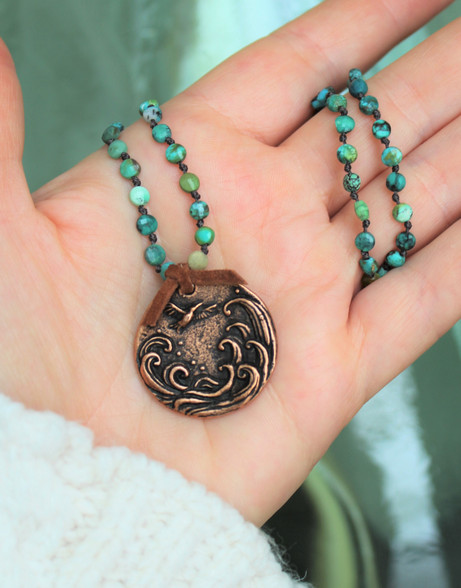 Begin Each Day With A Grateful Heart Turquoise Necklace