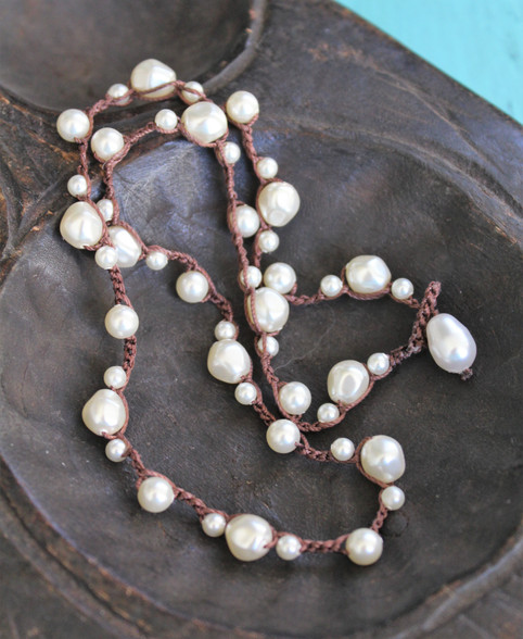 Crocheted Dimpled Pearl Boho Necklace