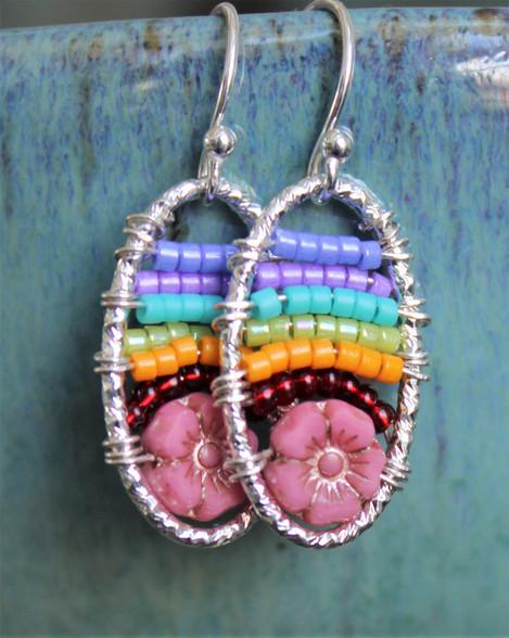 Rainbow Beaded Earrings