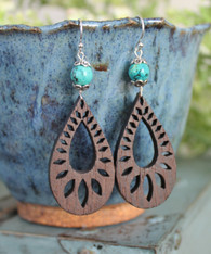 Wooden Boho Earrings - Teardrop
