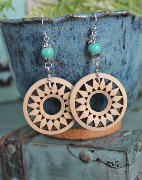 Wooden Boho Earrings - Sun Goddess
