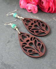 Wooden Boho Earrings - Lotus Teardrop