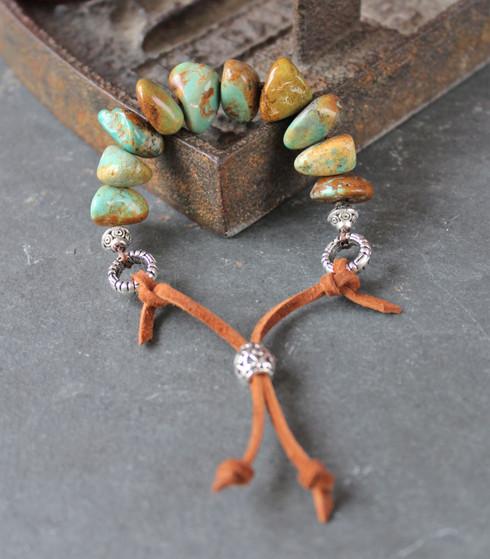 Turquoise Nugget Adjustable Leather Bracelet
