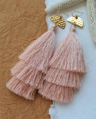 Pink Silk Tassel Earrings
