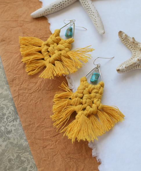 Macrame Earrings - Mustard