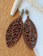 Wooden Boho Earrings - Carved Leaf
