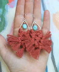 Macrame Earrings - Rust
