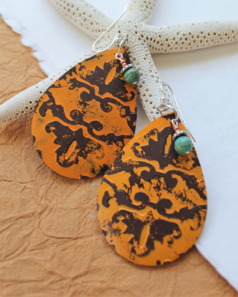 Stamped Leather Earrings - Mustard