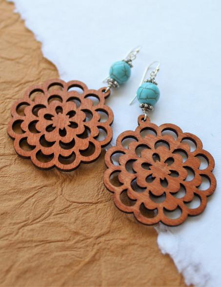 Wooden Boho Earrings - Large Flower