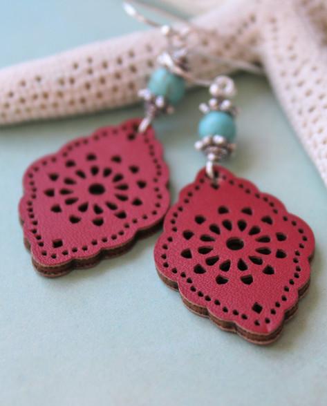 Red Leather Bohemian Earrings