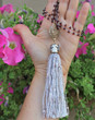 Long Garnet Tassel Necklace