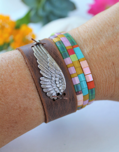 Angel Wing Bohemian Leather Cuff