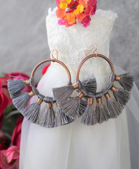Grey Fan Tassel Earrings