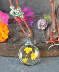 Yellow Pressed Flower Bohemian Necklace