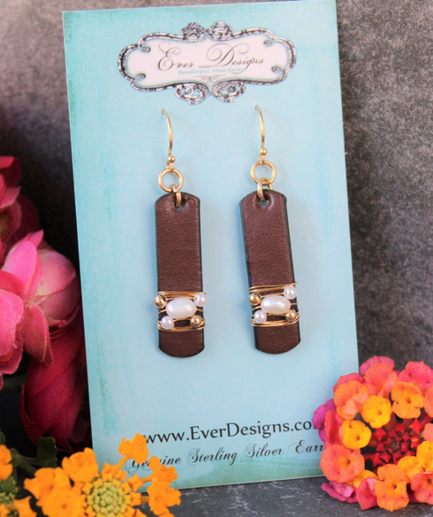 The Claire Earrings -  Wire Wrapped Pearl Leather Earrings