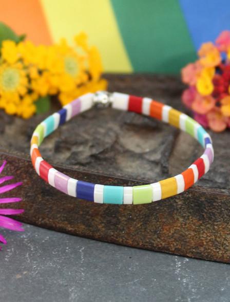 Rainbow Tile Tila Stretch Bracelet