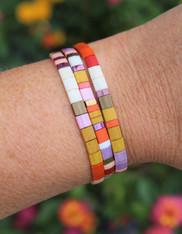 Tile Bracelet Set - Retro 3 Three Tila Bracelets Orange Mustard Gold