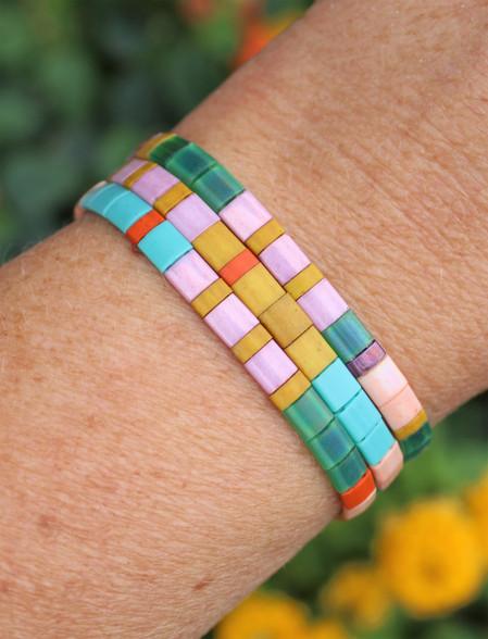 Tila Tile Bracelet Set - Tutti Frutti Colorful Set of 3 glass bracelets