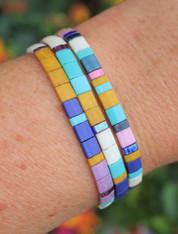 Tila Bracelet Set Blue Mauve Mustard Yellow Cream Retro Tile Glass Beads Stretchy