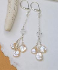 Keshi Pearl Earrings - Natural Sterling Silver Long Leverback