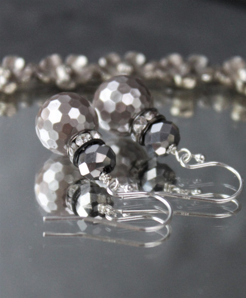 Silver Mirrorball Earrings Disco Ball Grey Gray Dressy Elegant Holiday Jewelry