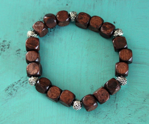 Beaded Wood Stretch Bracelet