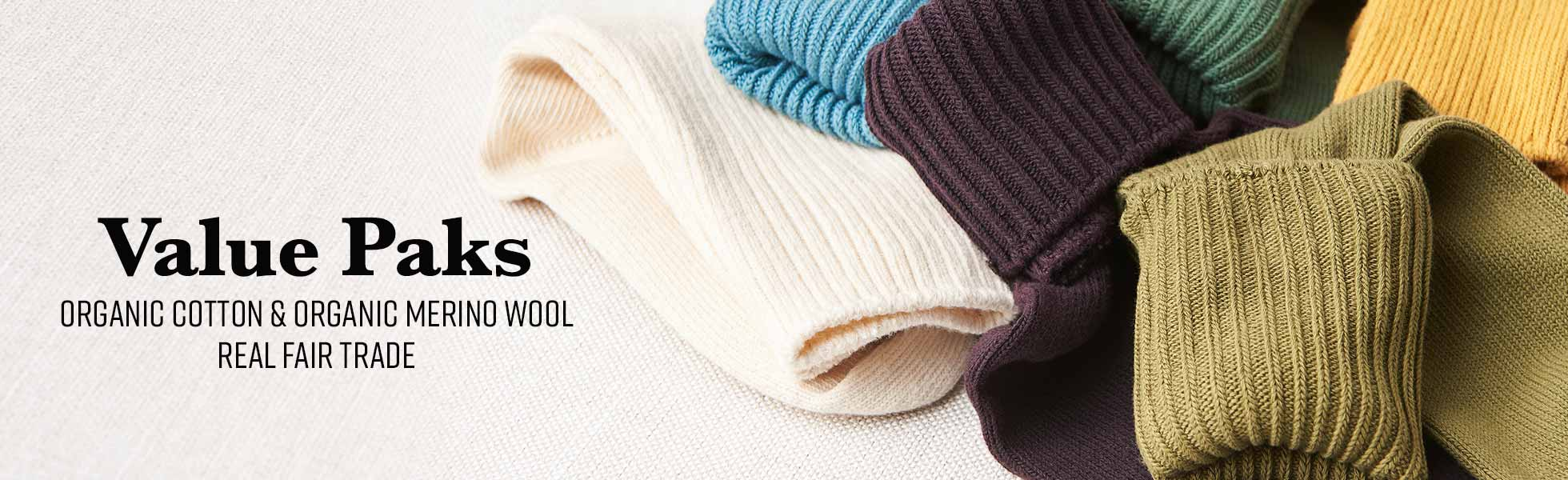 Value Paks of Organic Cotton and Organic Merino Wool Socks
