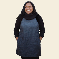 Organic Cotton Rib-Sleeve Cowl Tunic