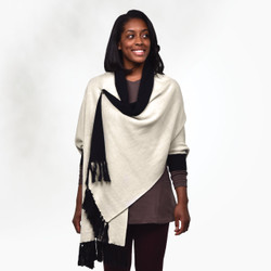Organic Cotton Reversible Sweater Shawl - One Size