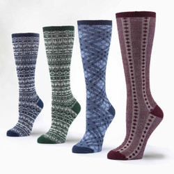 Organic Wool & Cotton Knee Hi Socks - 4 Pair Set