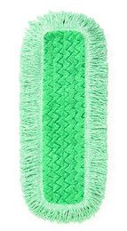 """Hygen Dust Pad, Q418, 18"""" L, Green, Looped Fringe, Microfiber, 6 Pad/Ctn"""