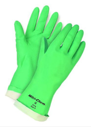 Nitri-Chem Nitrile  Glove, Green, 15 mil, Straight Cuff, 13 Inch, Flock Lined, Diamond Grip