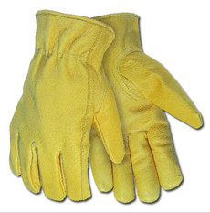 Drivers, Industry Gold Grain Pigskin, Rolled Hem, Keystone Thumb