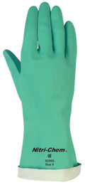 "Nitri-Chem, 18 mil 13"" Length Green Nitrile, Flock Lined"