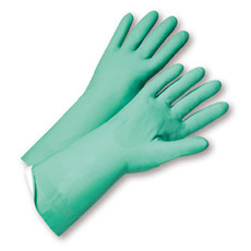 "Flock Lined Green Nitrile 18 mil 13"" Glove"