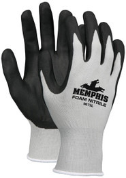 Memphis™, 13 Gauge Gray  Nylon, Black Foam Nitrile Dipped Palm/Fingers