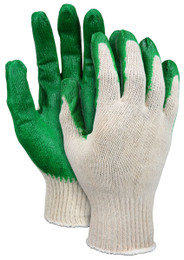 10 Gauge Natural Cotton/Polyester Shell, Green Latex Coated Palm & Fingertips