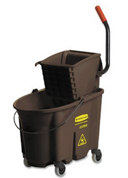 Rubbermaid WaveBrake Mop Bucket/Wringer Combo, 35 qt Bucket, Brown, Side Press, Plastic/Steel, 1 Set Per Carton