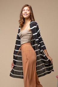 Autumn Breeze Stripe Cardi Black/ Ivory