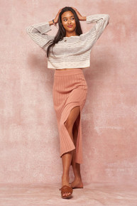 Hello Spring Sweater Skirt Dusty Peach
